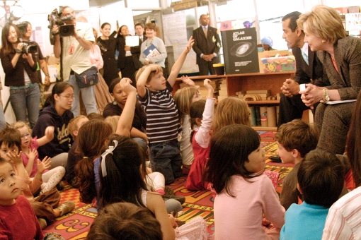 West Side Chronicle feature story Hilary Clinton and Los Angeles Mayor Antonio Villeragossa read to preschoolers at UCLA as Clinton tries to capture the Democratic Nomination